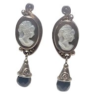 Vintage Sajen Cameo Earrings, Sterling, MOP and Faceted Black Onyx