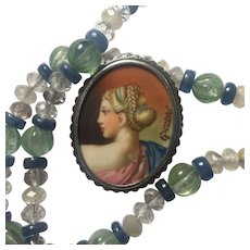 Silver Hand painted miniature portrait/ Newly added  Necklace: Natural Green Amethyst, Rutilated Quartz, Kyanite/ Upcycled