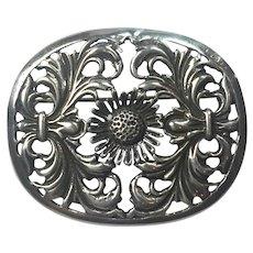 Vintage Dutch Silver 1930s floral brooch