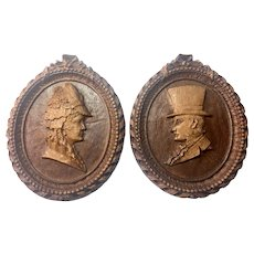 Antique 19th Century signed Carved FOLK ART Cameo Mr. and Mrs. Portraits Plaques
