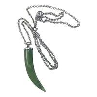 Vintage Sterling hand carved Jade pendant hallmarked
