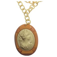 VINTAGE Butterscotch BAKELITE and Celluloid CAMEO Necklace - Red Tag Sale Item