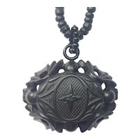 Black Mourning Necklace / Pressed Horn Star Cross