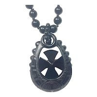 Whitby Jet Mourning Greek Revival cross pendant and necklace