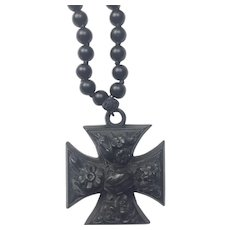 Vulcanite Mourning Maltese Cross with onyx necklace