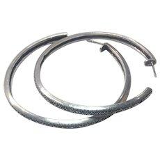 Vintage Sterling Silver Marcasite Large Hoop earrings