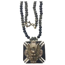 Fraternal Order of Eagles pendant and jasper pyrite necklace