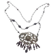 Dutch and Sterling Silver Roses , Natural Garnets 2 Tier Necklace/Upcycled: Hallmarked