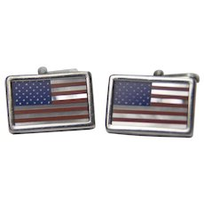 Vintage Sterling American Flag inlaid cufflinks: Lapis Lazuli, Mother of Pearl and Coral
