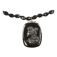 Antique Victorian Mourning French Jet cameo necklace: RARE