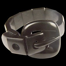 Antique Victorian Mourning Whitby Jet Buckle bracelet: RARE