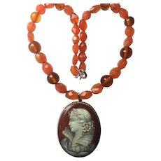 Vintage hand painted Mother of Pearl Cameo Pendant with Natural Carnelian and Amber Necklace