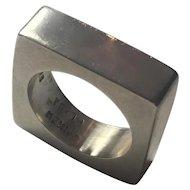 Vintage Modernist solid Sterling Silver Sculptural Ring: Signed