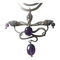 Vintage Large Silver Snake and Natural Royal Amethyst necklace