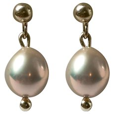 AAA Natural Freshwater Blush Pearl earrings 14K Gold