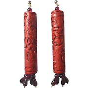 Cinnabar beads / up cycled 14 K Gold and Natural Garnet earrings