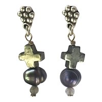 Natural Pyrite, Freshwater cultured Pearls and Labradorite Sterling Silver earrings