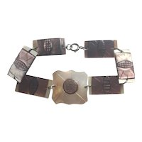 Vintage Art Deco Mother of Pearl link bracelet