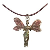 Antique Art Nouveau Sterling Silver Fairy Pendant: Enamel