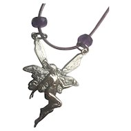 Sterling Silver Fairy Pendant Necklace / upcycled/ Natural African Amethysts
