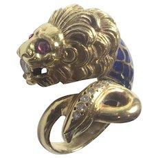 18K Gold Diamond Ruby Enamel LION ring: Vintage