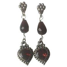 Sterling Silver Natural Garnet drop earrings - Red Tag Sale Item