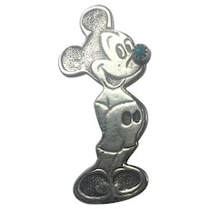 Vintage Native American Sterling Silver Mickey Mouse Brooch/Pendant