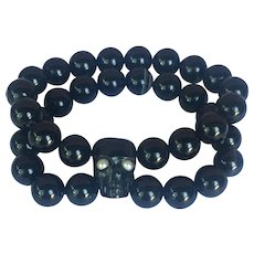 Carved Horn skull, cultured Pearl, Onyx and banded Agate bracelet