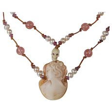 Cameo, Skull, Cultured Pearl and Pink Tourmaline leather cord choker Necklace: Memento Mori Inspired