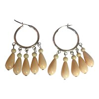 Vintage Sterling Silver Hoop and Chandelier earrings: Hand carved Natural Shell drops