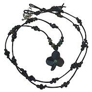 Bog Oak Shamrock/clover, emerald and green/black tourmalines: leather cord necklace