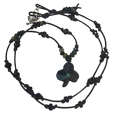 Bog Oak Shamrock/clover, emerald and green/black tourmalines: leather cord necklace