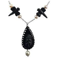 Whitby Jet Mourning Oak Leaf teardrop, carved Dragon fly Onyx, Cultured pearl sterling silver necklace