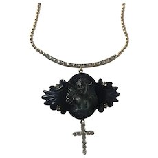 Whitby Jet Angel, 14K gold, platinum and diamond Cross