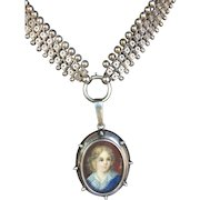 Antique Victorian Sterling and oil painted child Portrait Locket: Double Rolo Book chain