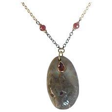 Jasper Wolf, Natural Pink Tourmaline, Sapphires, 14K Gold Sterling Silver Necklace