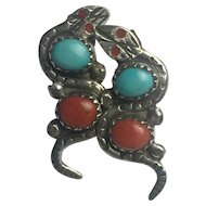Vintage Native American Solid Sterling Natural Turquoise and Coral Snake Earrings