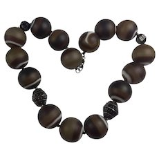 Antique Victorian Banded Agate necklace: Very Large beads