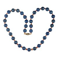 Art Deco Chinese Export Lapis Lazuli and Coral necklace: Cerulean Blue Lapis