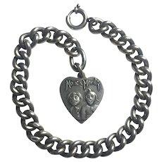 Antique  Edwardian German Max & Moritz link bracelet /Heart charm /Rare/ Men's or Women's