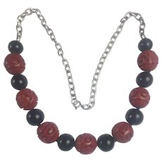 Vintage Art Deco Sterling silver, carved Chinese Cinnabar and Black onyx necklace