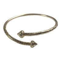 Antique Victorian 14 K Gold etched bypass bangle: 26.3 grams