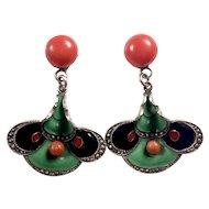 Vintage Art Deco Natural Coral, Enamel and Sterling Silver drop earrings