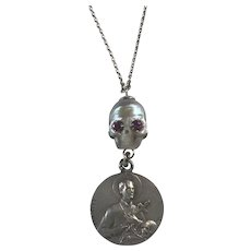 South Sea Cultured Pearl Skull and very RARE Memento Mori Medal