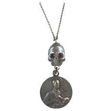 South Sea Cultured Pearl Skull and very RARE Memento Mori Medal