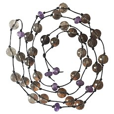 Natural Smokey Quartz, Amethyst leather cord 47 inches long