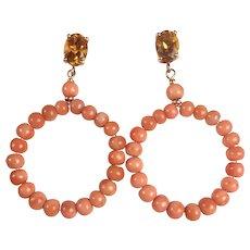 Natural Citrine and Coral Gypsy Hoop earrings