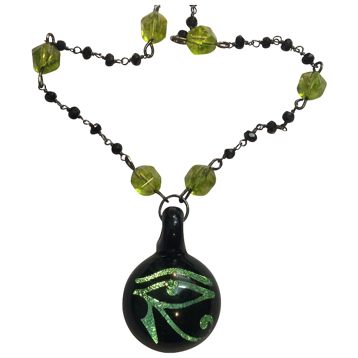 Blown Glass Egyptian Eye of Horus, Natural Peridot, Black Spinel and  Sterling necklace