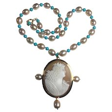 Goddess Diana Cameo / Gold / Natural Sleeping Beauty Turquoise / Cultured AAA Pearl Necklace