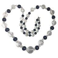 Vintage Art Deco Rock Crystal and Black Onyx bead necklace